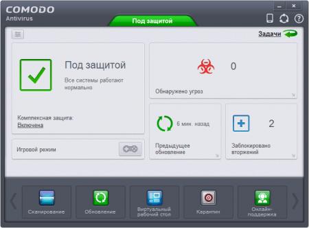 Comodo Antivirus главное окно