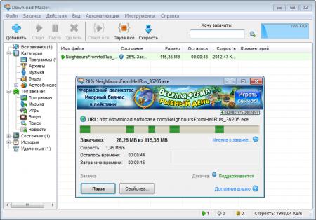 Download Master окно закачки.