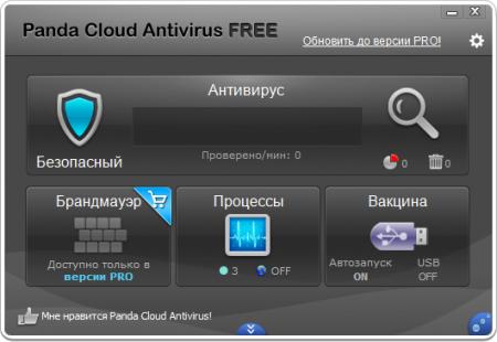 Panda Cloud Antivirus главное окно